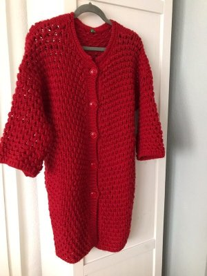 Benetton Coarse Knitted Jacket red