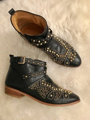 Tolle stylische nieten boots von zara overknees gr. 37/38 schwarz golz glitzer stiefel blogger