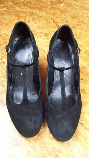 Gabor Zapatos de tacón con barra en T negro Cuero