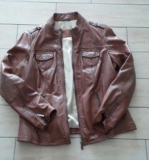 Tamaris Leather Jacket cognac-coloured