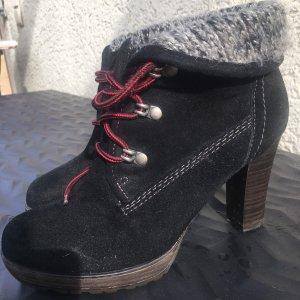 Tamaris Botas con cordones negro Gamuza