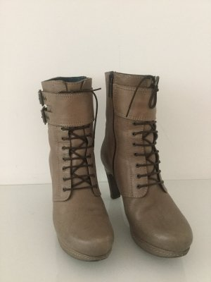 Tolle taupe-farbene Plateau-Boots, Gr. 37