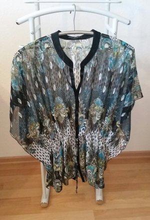 Tunique-blouse noir-turquoise