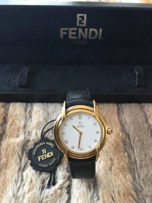 Fendi Reloj con pulsera de cuero negro-color oro