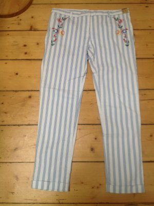 Monocrom Chinos white-azure cotton