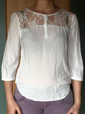 Tolle weiße Bluse 3/4 arm und spitze