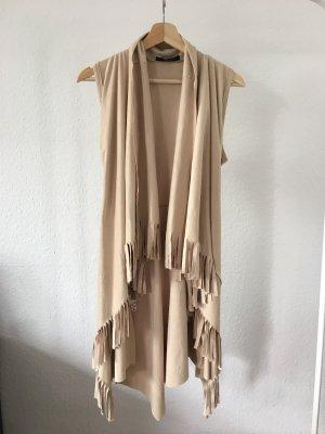 Fringed Vest beige-gold-colored