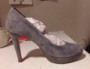 Tolle Wildleder high heels Pumps grau-blau