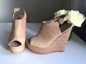 Aldo Wedge Sandals cream-bronze-colored suede