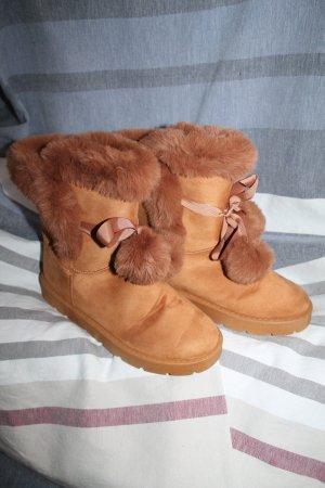 Fur Boots cognac-coloured