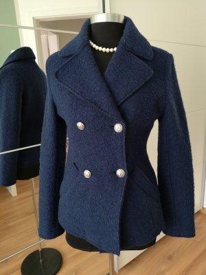 Veste en laine bleu acier tissu mixte