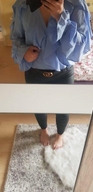 Tolle Zara Bluse mit Volant Volantbluse blau Gr. M Neu