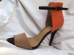 Zara Chaussure à talons carrés multicolore daim