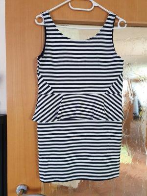 H&M Divided Peplum Dress white-dark blue