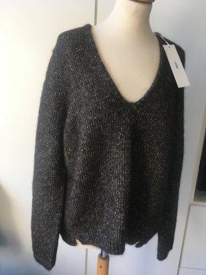 Closed Jersey de lana marrón oscuro-beige claro lana de alpaca