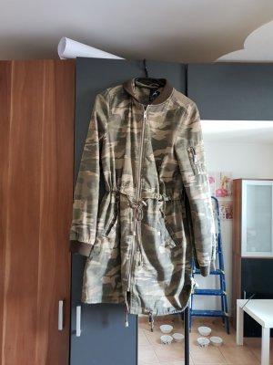 Manteau à capuche vert foncé-vert olive tissu mixte