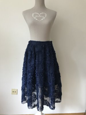 H&M Premium Kanten rok donkerblauw-blauw