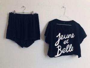 toller bequemer Pyjama Top bauchfrei + Shorts high waist