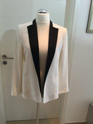Zara Woman Veste de smoking blanc-noir tissu mixte