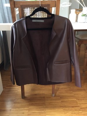 Angela Davis Blazer in pelle bordeaux-marrone-rosso