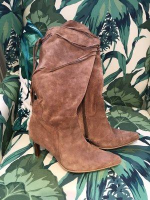 Toller brauner Wildleder-Stiefel Designer-Stiefel