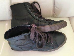 toller Echtleder Geox-Sneaker Gr. 41 Dunkelbraun-Schwarz, wNEU