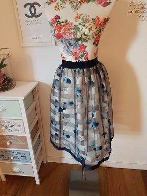 Falda de talle alto blanco-azul