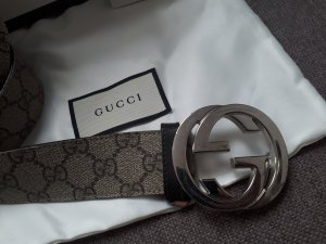 Gucci Leather Belt light brown-grey brown leather