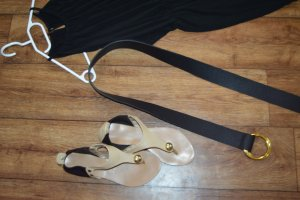 Faux Leather Belt black-gold-colored