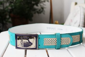 Versace Leather Belt turquoise-oatmeal suede