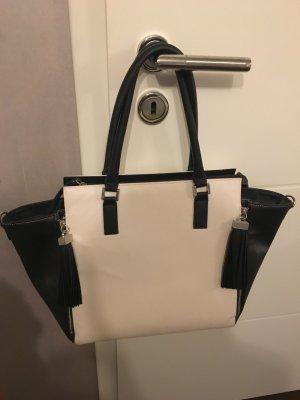 Toller H&M Shopper weiß-schwarz