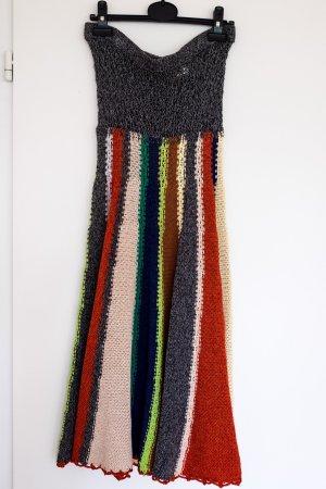 Toller Häkelrock von La Rot in grau mit bunten Streifen - Gr. S