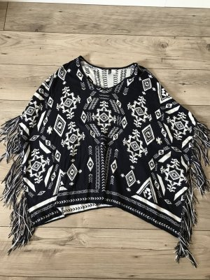 H&M Poncho donkerblauw-wit
