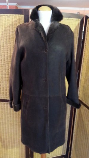 Jones Cappotto in pelle marrone-nero Pelle