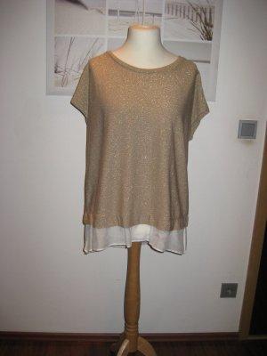 Margittes Pull à manches courtes doré-blanc cassé tissu mixte