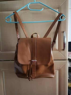 School Backpack cognac-coloured
