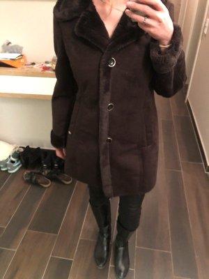 Michael Kors Jas van imitatiebont donkerbruin-zwart bruin