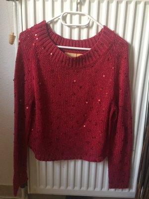 Biba Knitted Sweater brick red-magenta cotton