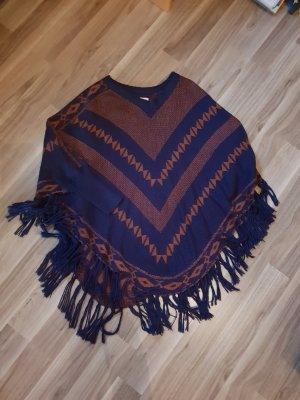 Only Poncho marrón-azul oscuro