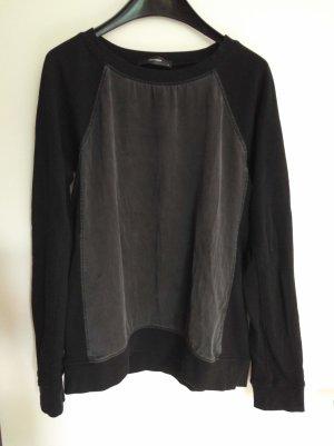 Hallhuber Kraagloze sweater zwart Katoen
