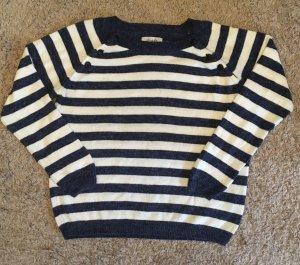 BlendShe Gebreide trui wit-donkerblauw