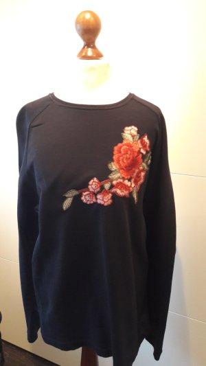 toller Pullover dunkelblau Blumen/Stickereien