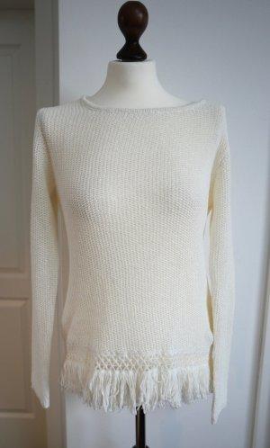Toller Pullover mit Fransen in wollweiß