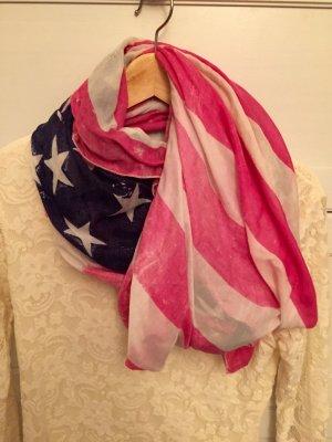 Toller Schal mit pink/blauem USA Print