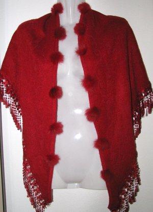 Toller Schal Stola mit Spitze und Bommeln aus Pelz Casual Weihnachten Ball