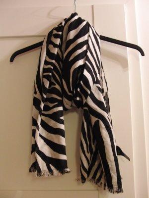 H&M Sjaal met franjes wit-zwart Polyester