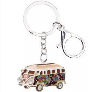 Toller Schlüssel- und Taschenanhänger Hippie VW Bus aus Metall NEU