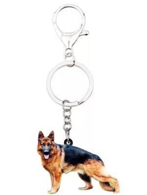 Toller Schlüssel- und Taschenanhänger Schäferhund aus Hartplastik und Metall NEU