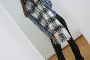 H&M Bufanda de flecos negro-blanco
