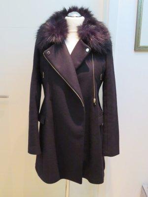 Toller schwarzer Wollmantel, Mantel, Kurzmantel, Jacke  von Zara in L mit Fake Fur